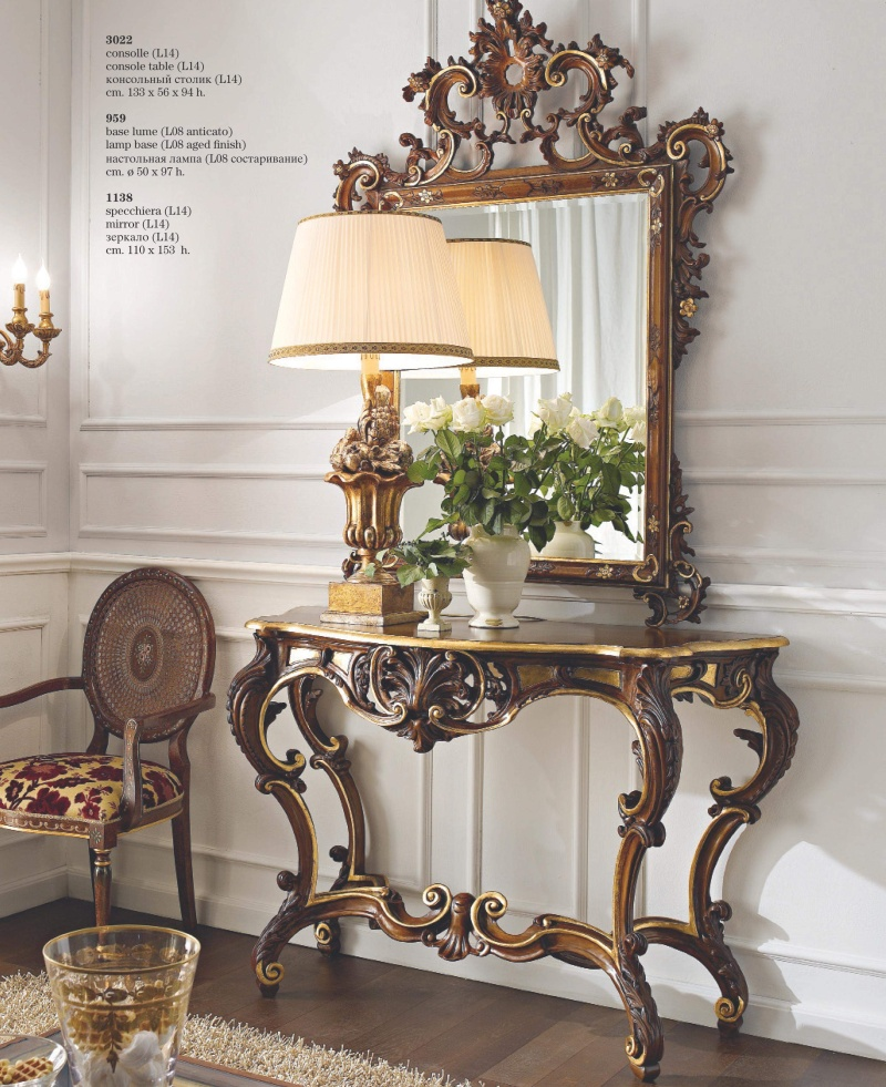 Лакированый консольный столик и зеркало в ажурной резьбе Giorno