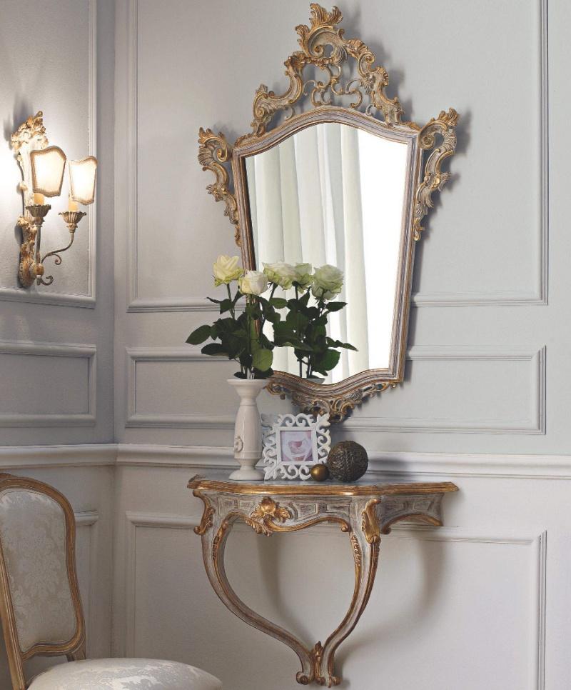 Патинированый консольный столик и зеркало с резьбой Giorno