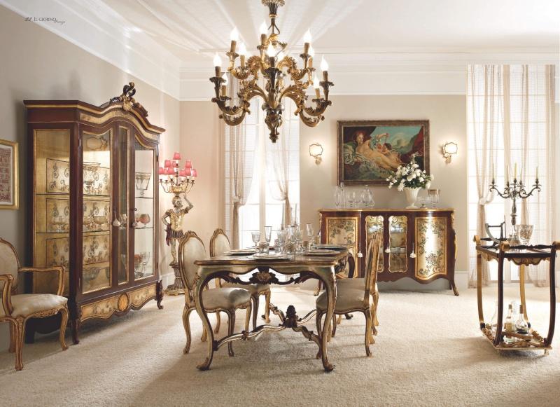 Шикарная столовая мебель с орнаментом стиль - классический Giorno