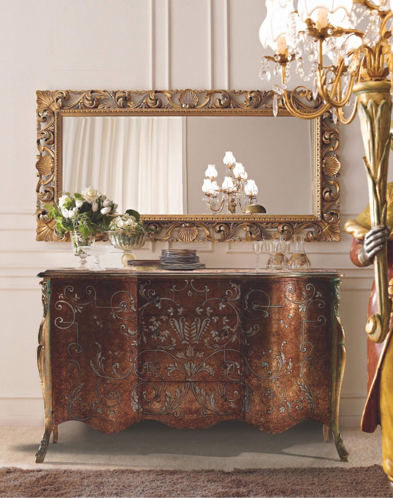 Росписной комод с выдвижными ящиками и зеркалом Giorno