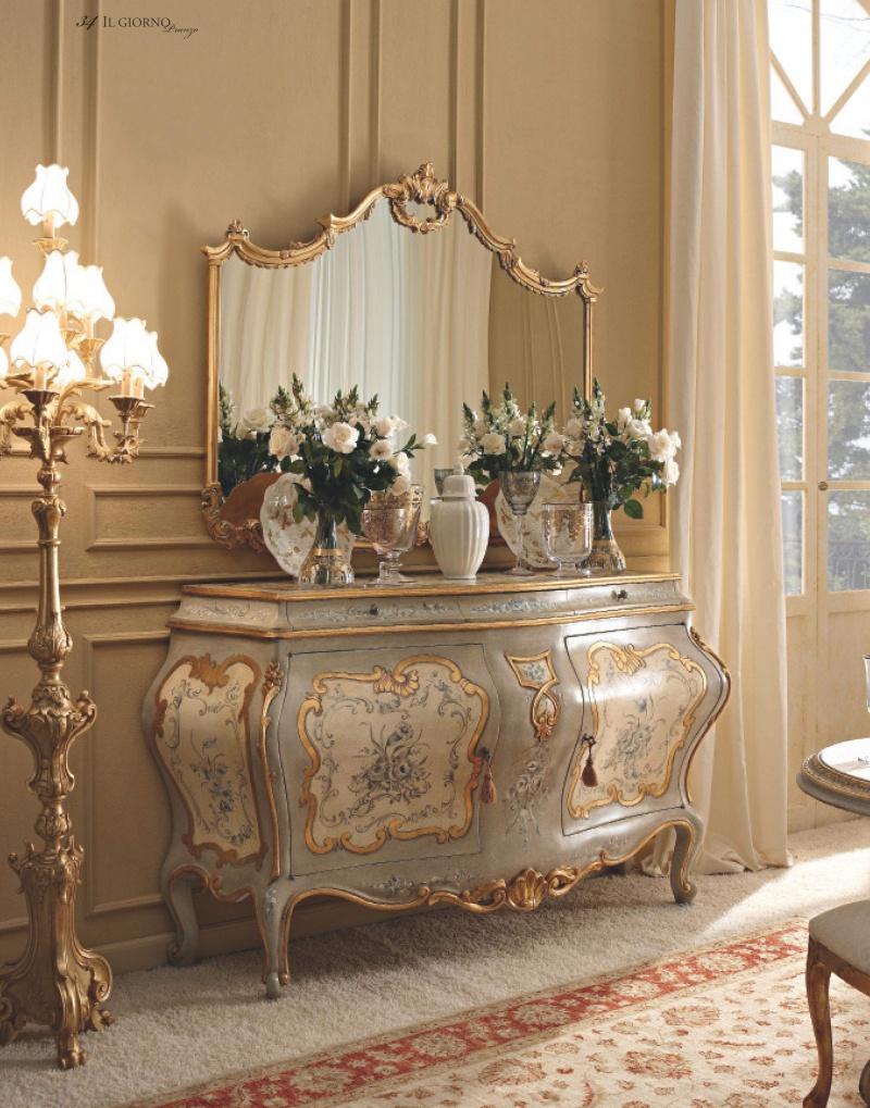 Массивный патинированный комод с росписью и зеркалом Giorno
