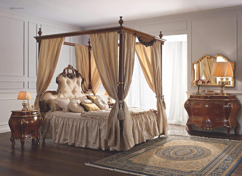 Двухспальная кровать с балдахином обивка капитоне Notte