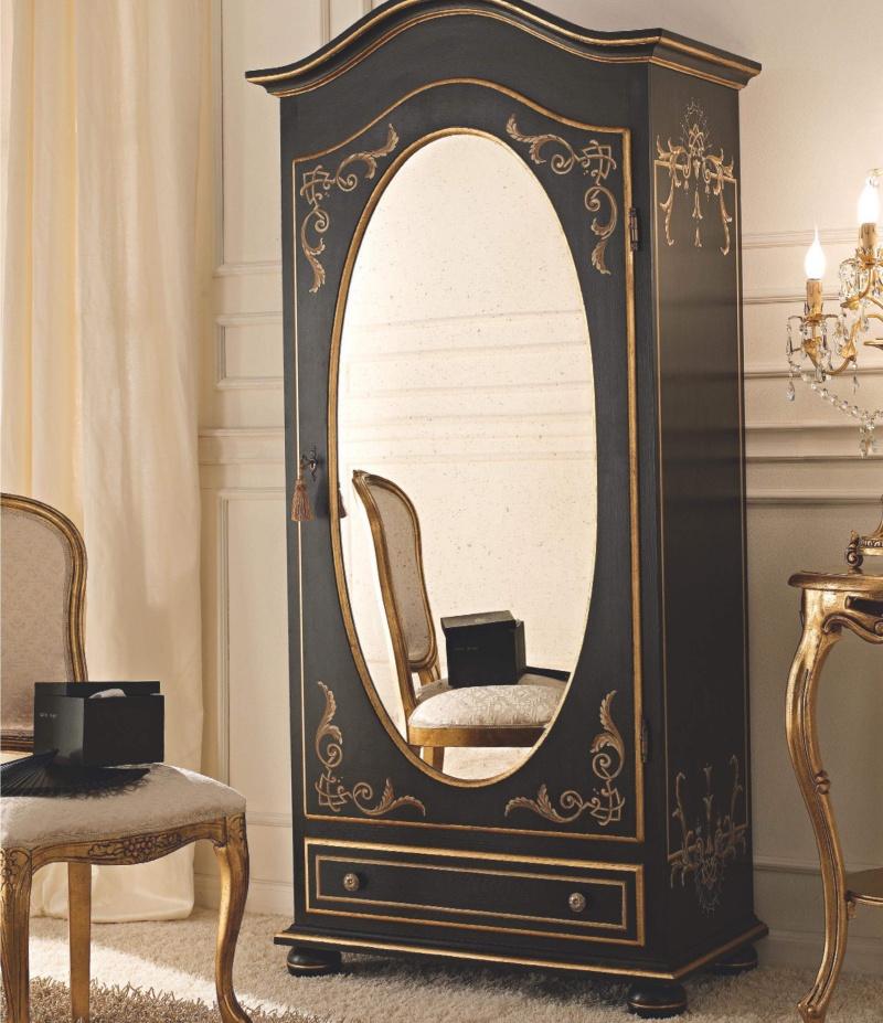 Чёрный шкаф с овальным зеркаломи выдвижной шуфлядой Notte