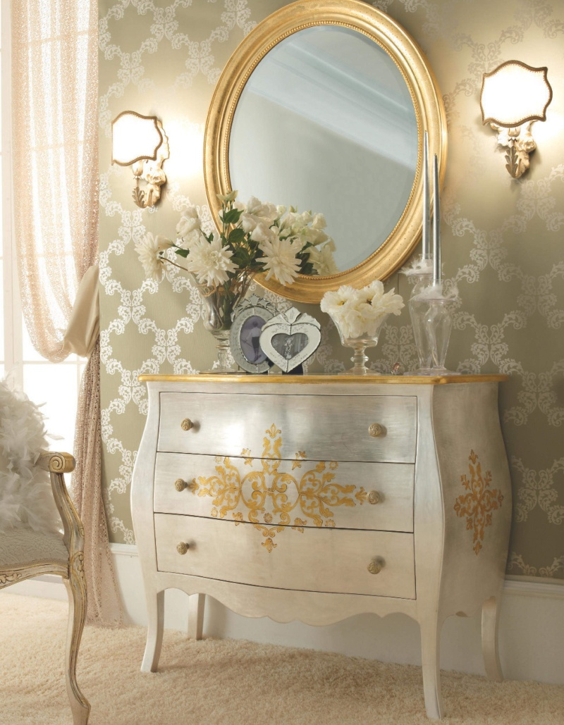 Комод и зеркало - цвет слоновая кость с позолотой Notte