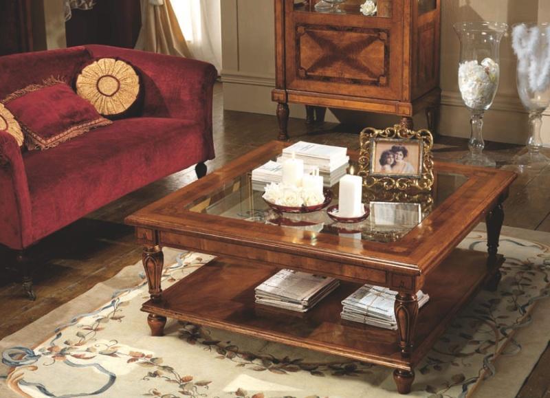 Квадратный журнальный столик со стекляной столешницей Antico Borgo