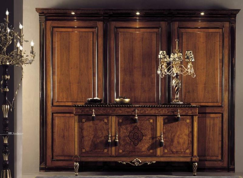 3-х дверный шкаф с подсветкой и комод с инкрустацией Antico Borgo Neoclassico Gold