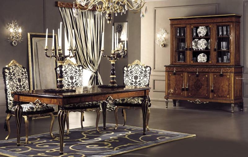 Набор мебели для столовой с резными элементами Antico Borgo Neoclassico Gold