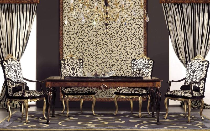 Стол с четырьмя стульями на резных ножках Antico Borgo Neoclassico Gold