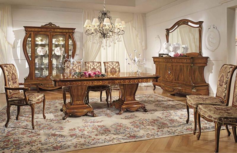 Комплект мебели для столовой цвета орех с орнаментом Antonelli Moravio AM