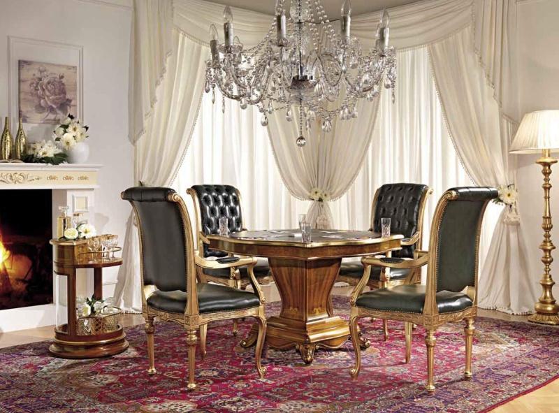 Стол и стулья орехового цвета с элементами ручной работы Antonelli Moravio AM