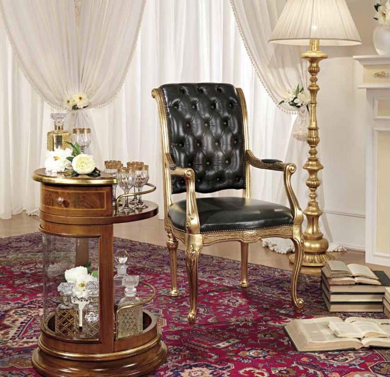 Мягкий стул с баром цвета орех с позолотой Antonelli Moravio AM