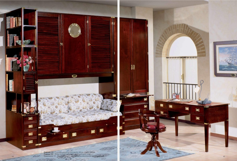 Мягкий встроеный диван - кровать со стенкой - морской стиль Vecchia Marina Caroti