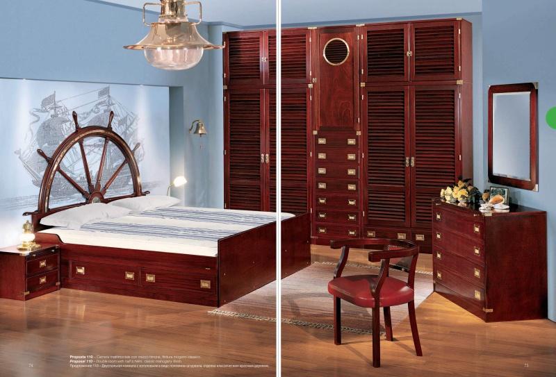 Двухспальная кровать с изголовьем в виде корабельного штурвала Vecchia Marina Caroti