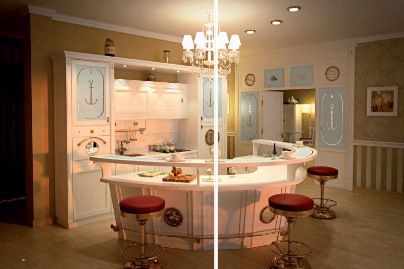 Гарнитур для кухни - цвет белый - морсокая тематика Vecchia Marina Caroti