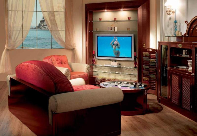 Гостиная комната из классического красного дерева Vecchia Marina Caroti