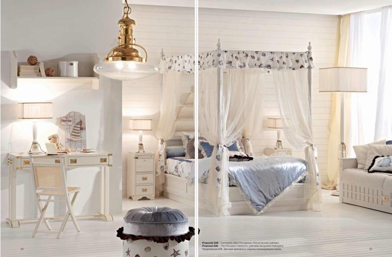 Детская комната отделка патина в белом цвете Vecchia Marina Caroti