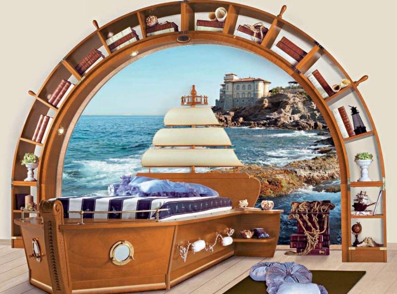 Детская кровать - корабль и подставка в виде корабельного штурвала Vecchia Marina Caroti