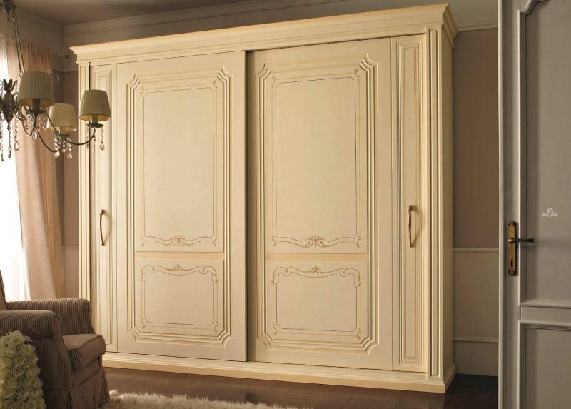 Патиновый шкаф - купе цвета - слоновой кости Anta Scorrevole
