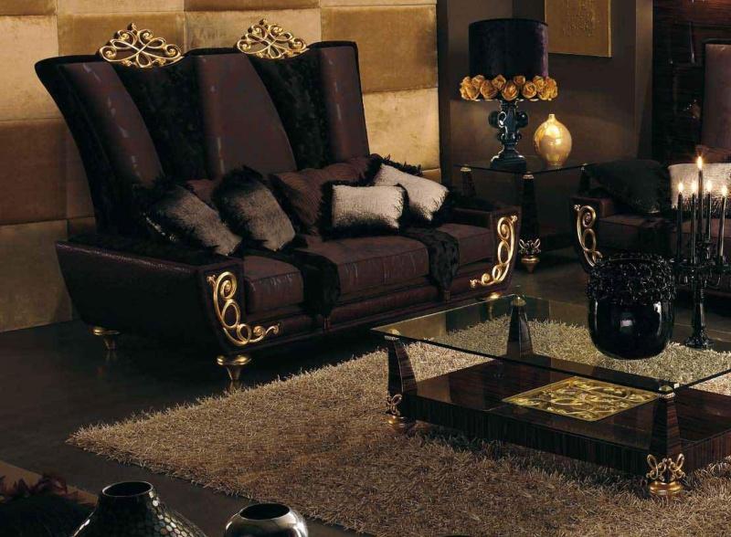Мягкий диван в коричневой обивке и квадратный жюрнальный столик Blue Diamond Lanpas