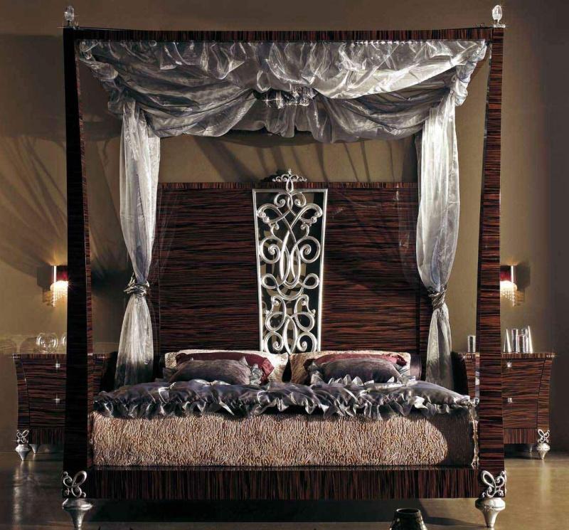 Двухспальная кровать с балдахином - цвет зебрано Blue Diamond Lanpas