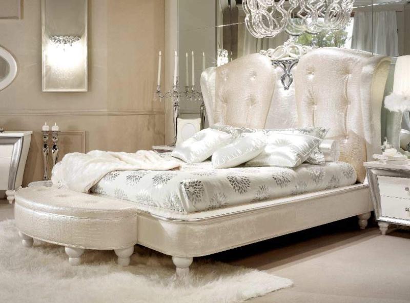 Спальная кровать - цвета слоновая кость - модель Ellelux