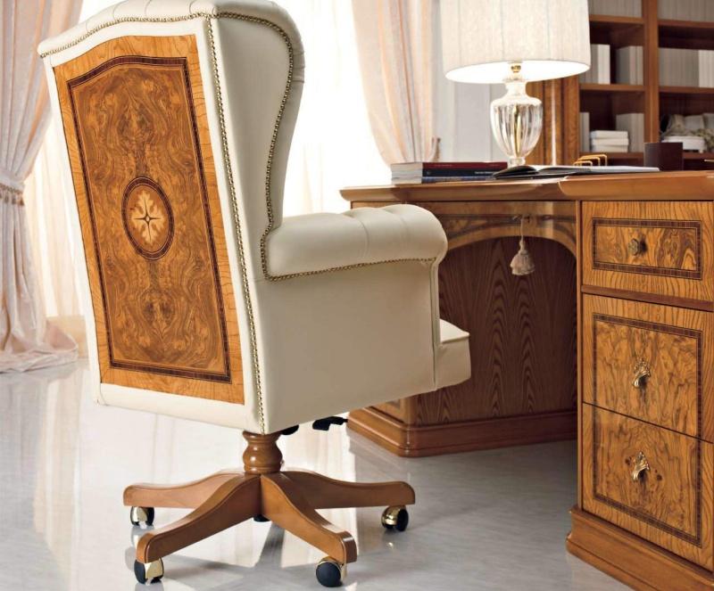 Кресло в кабинет с инрустацией - кожа бежевая Jasmine Valderamobili