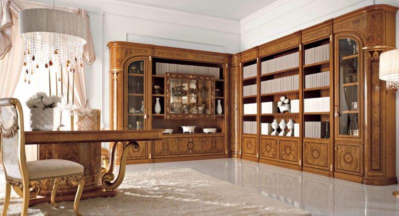 Угловой шкаф для книг и посуды производства Италия Jasmine Valderamobili