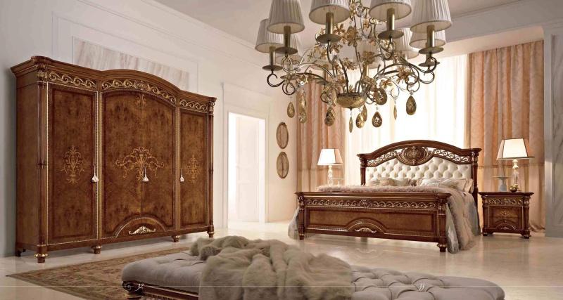 Спальная мебель - золотой декор - классика LUIGI XVI Valderamobili