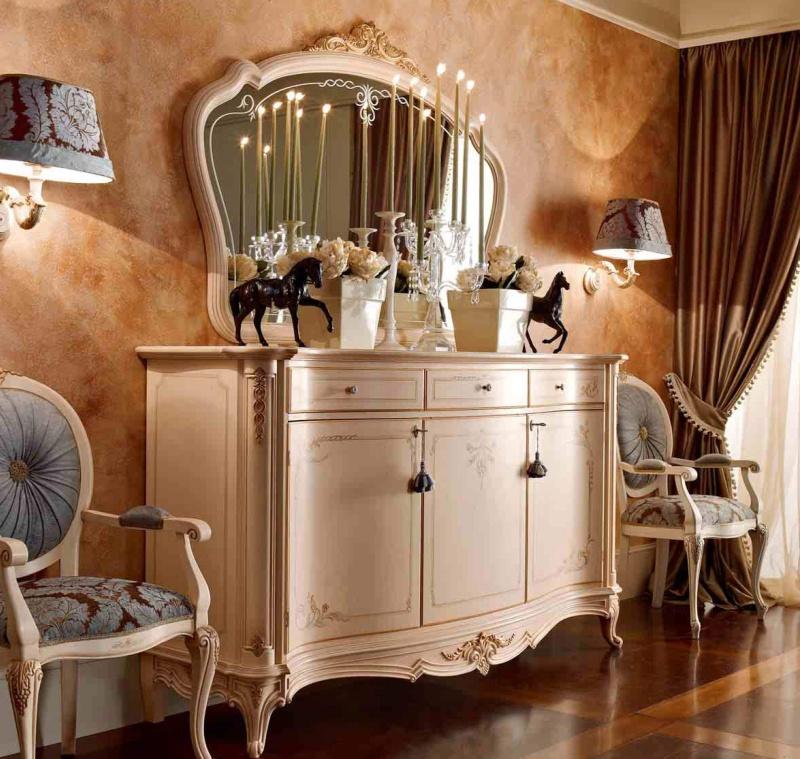 Комод с зеркалом - цвета беж Principe