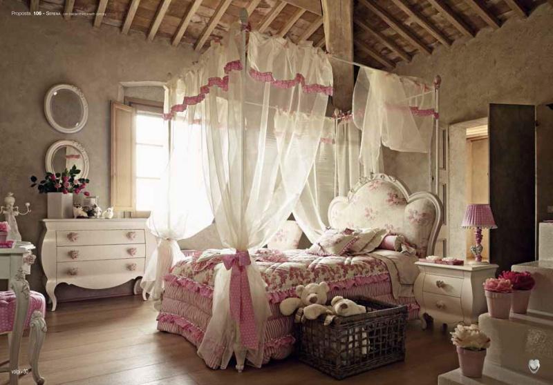 Детская кровать с балдахином - бежевая с розовым текстилем Serena