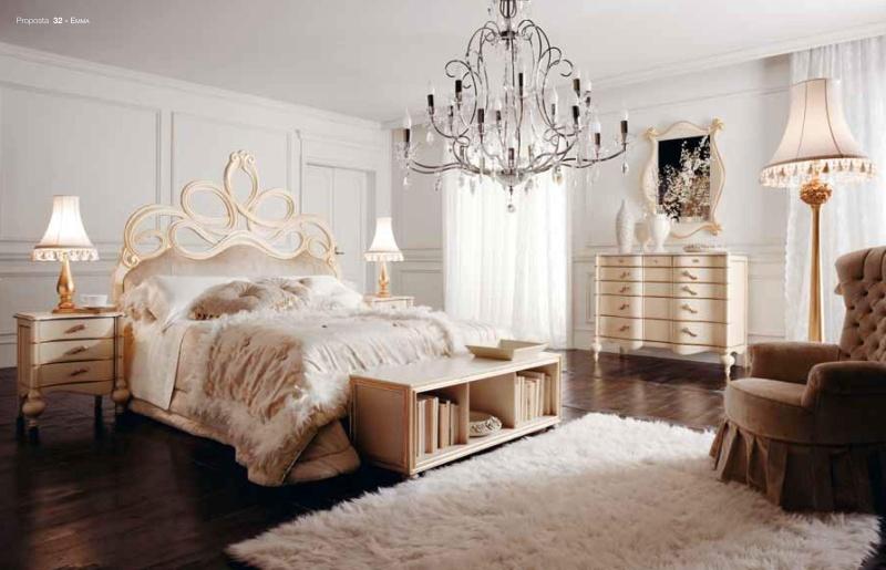 Спальная мебель с резным декором - слоновая кость Emma