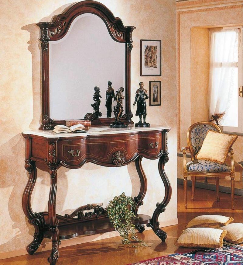 Консольный столик с подставкой и зеркалом с резьбой The Book