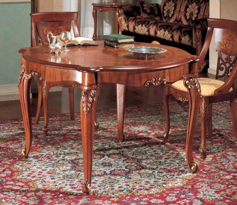 Круглый столовый классический стол с резными ножками The Book
