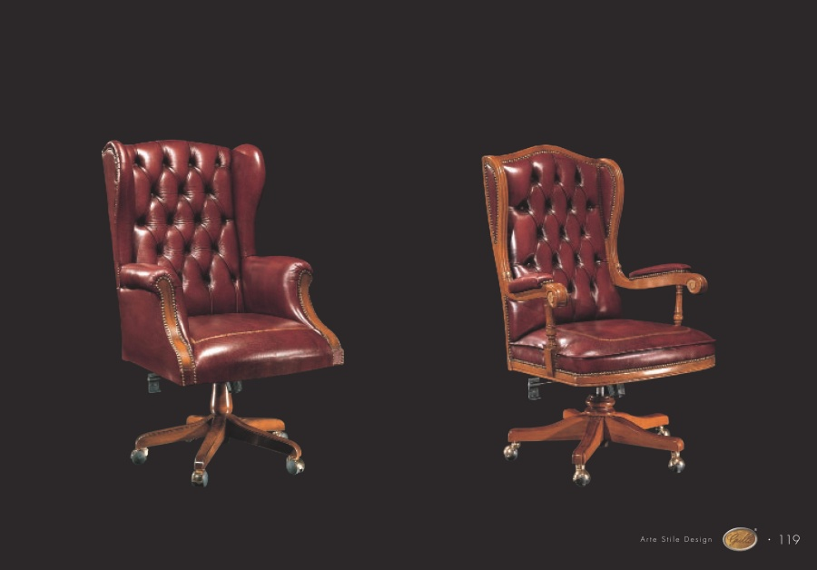 Кресло руководителя в коже цвета -бордо Grilli Roma