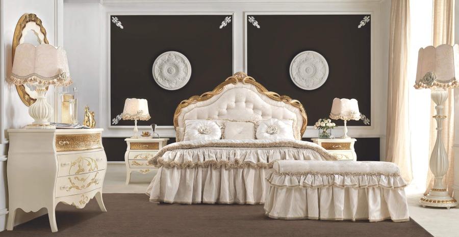 Кровать в светлой обивку с изголовьем капитоне Signorini Coco Gruppi