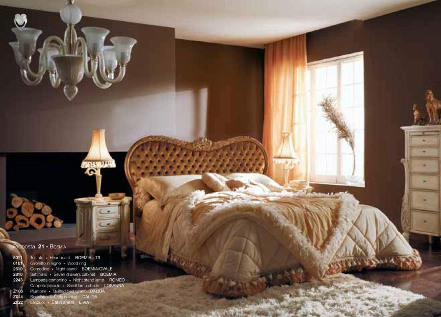 Кровать с фигурным изголовьем капитоне Volpi Boemia