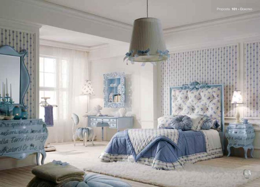 Мебель для детской в голубом цвете с росписью Volpi Doroteo