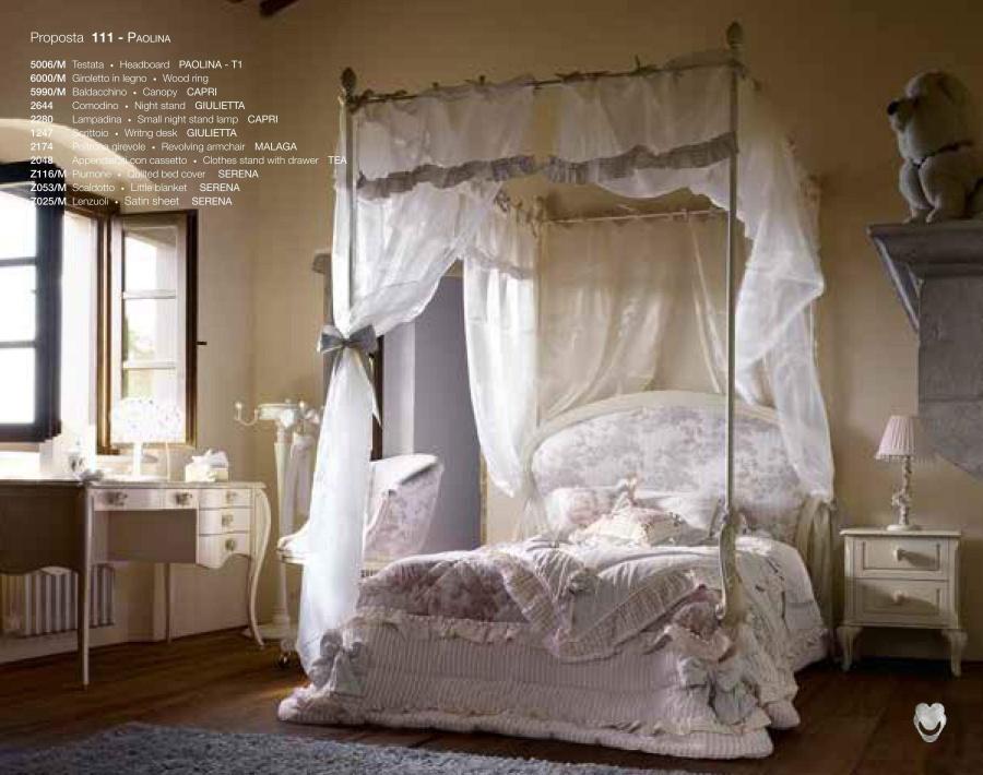 Кровать для детской с балдахином с белым текстилем Volpi Paolina