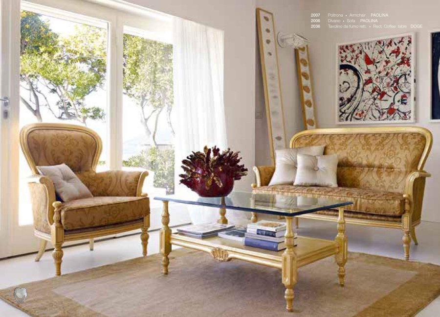 Мягкая мебель - отделка золото Volpi Paolina
