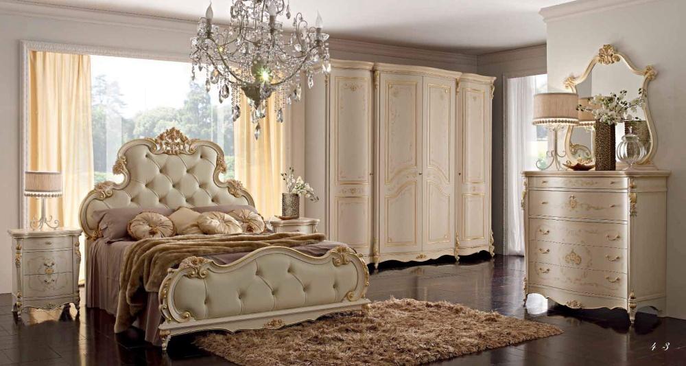 Кровать в бежевой коже Alberto Mario Ghezzani Michelangelo